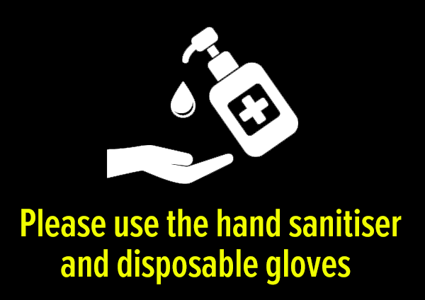 Hand sanitiser and gloves available